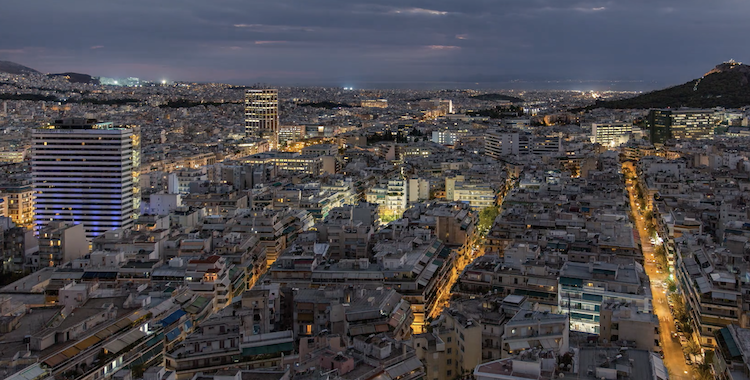 A Gorgeous Overhead Timelapse Showcasing the Evolving Beauty of Athens, Greece at Night