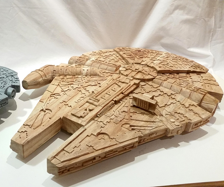Hand Carved Wooden Millennium Falcon Models