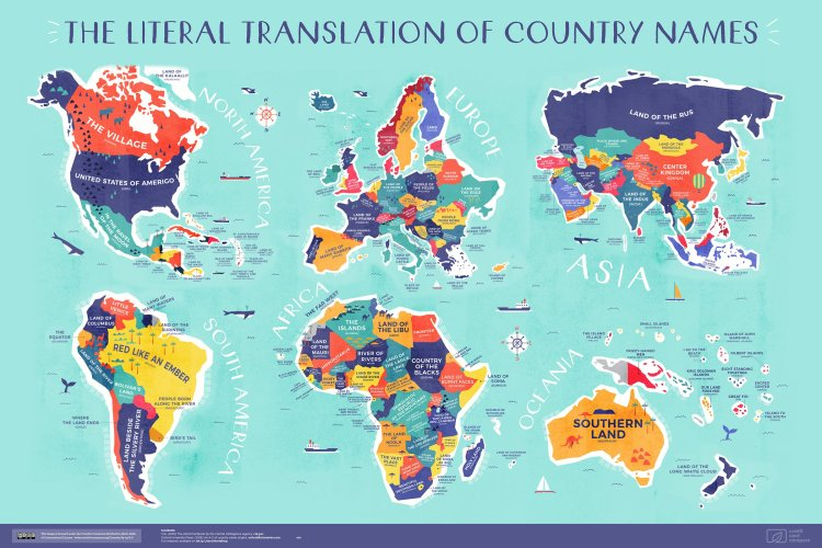 World Map With Labels Of Countries.An Incredible World Map That Plots The Literal Translation Of Every