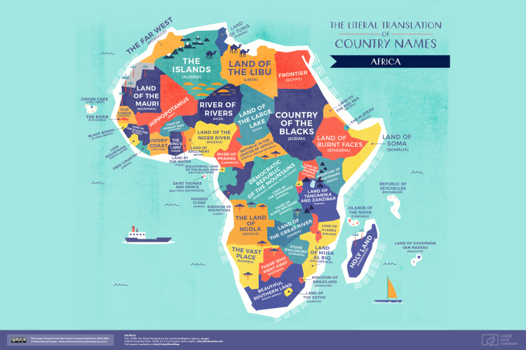 An incredible world map that plots the literal translation of every cc map africa gumiabroncs Choice Image