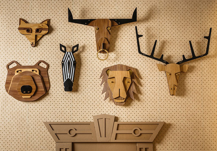 Whimsical Wooden Mounted Animal Head Trophies