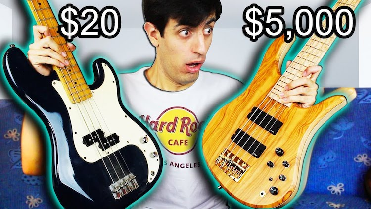 A Comparison Sampling of a $20, a $620 and a $5,000 Bass Guitar Mixed Into a Single Solo