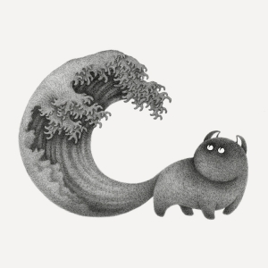 Great Wave Cat Tail Self Motivation