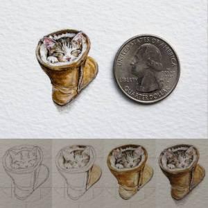 Kitten in Boot Watercolor