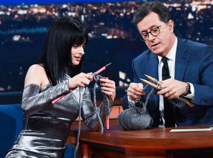 Krysten Ritter Teaches Stephen Colbert to Knit While Talking About the New Season of 'Jessica Jones'