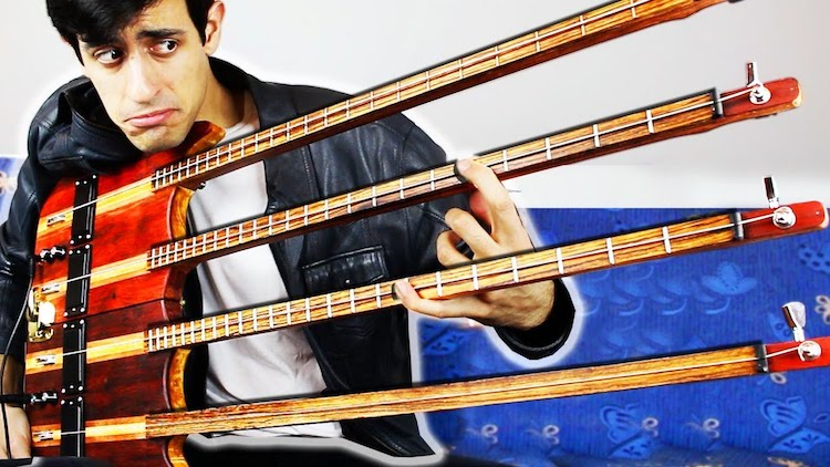 Musician Performs an Impressive Continuous Solo on an Unusual Quadruple Neck 4-String Bass