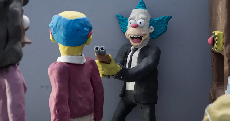 Simpsons Characters Reenact a Reservoir Dogs Bank Robbery Scene in Dark Claymation Short