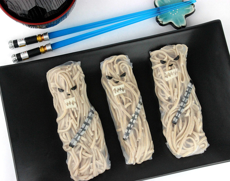 Chewbacca Noodle Rolls, Wookiee Themed Spring Rolls Filled With Brown Buckwheat Noodles