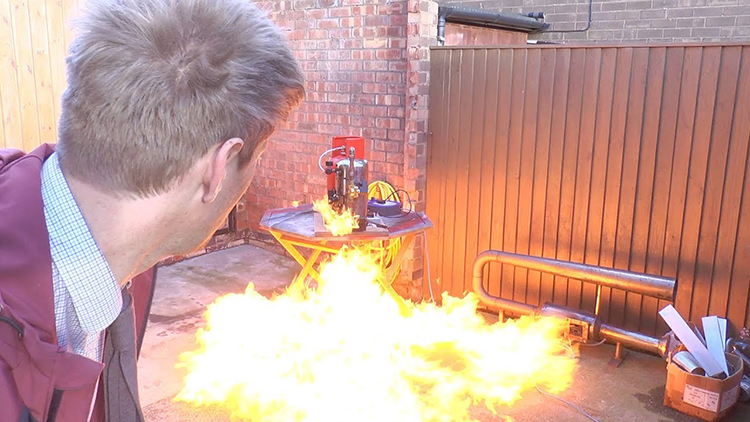 Colin Furze and James Bruton Build a Fire Blaster Voice-Activated With Alexa