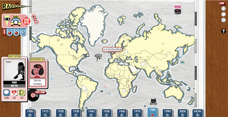 Radiooooo, An Interactive Music Player That Lets Users Pick the Decade and Global Location of Songs