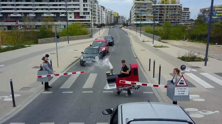 Prankster Rémi Gaillard Stops Traffic as a Little Choo Choo Train That Needs to Safely Cross the Road