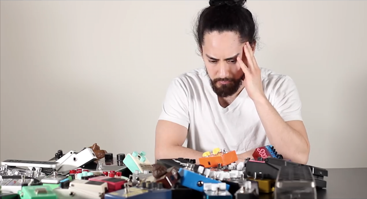 Guitarist Dramatically Challenges Himself to Play Every One of His 37 Guitar Pedals at the Same Time