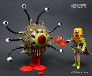 A Terrifying LEGO Beholder Monster and a Humanoid Elf From Dungeons & Dragons