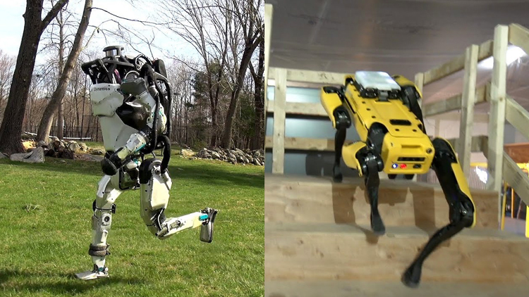 An Atlas Robot Goes For a Run While a SpotMini Robot Autonomously Navigates Through an Office