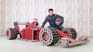 Coca Cola F1 Racing Car Made From Soda Cans