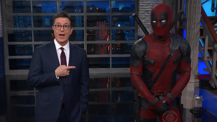 Deadpool Crashes 'The Late Show' Stage Taking Over Stephen Colbert's Opening Monologue
