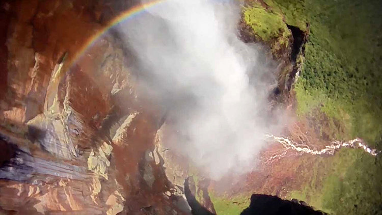 Fearless Base Jumper Leaps From the World's Highest Waterfall in Venezuela