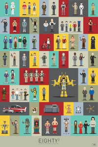 Illustrations of 80 Characters From 57 Popular 1980s Movies
