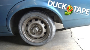 Making a Functioning Tire Out of Duct Tape