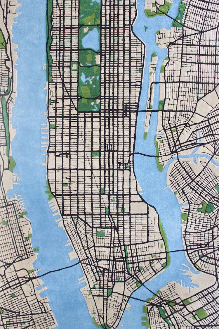 A Beautiful 3D Rug That Maps Out a Detailed Grid View of Manhattan and Surrounding Areas
