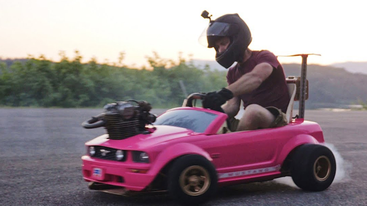 A Modified Barbie Power Wheels Mustang Go Kart With a Real Engine That Goes Up to 70 MPH