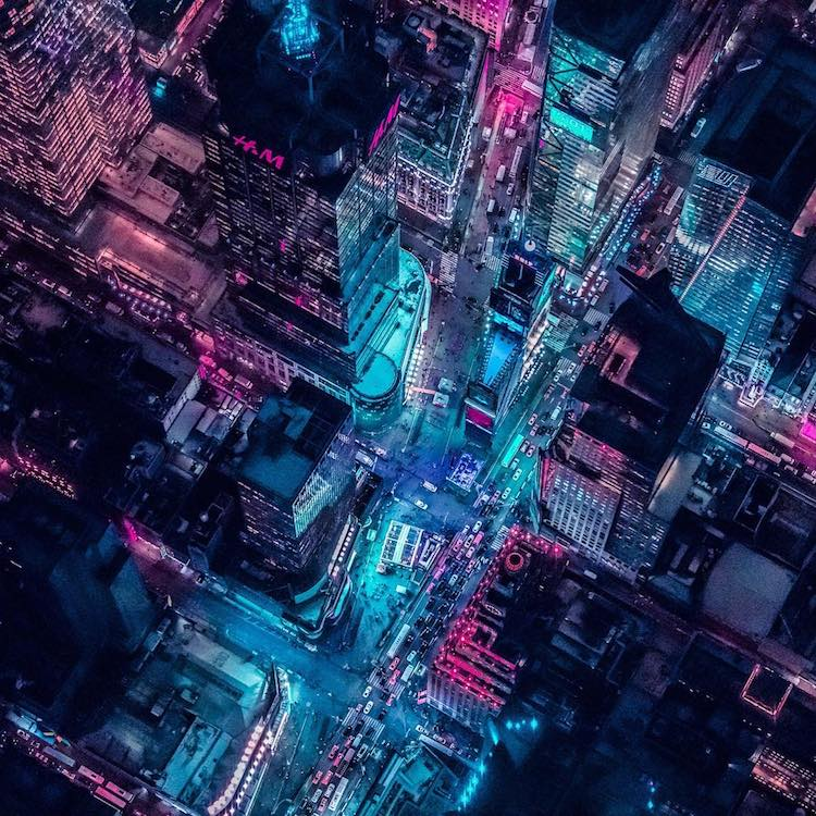 Stunning Overhead Shots of a Glowing Pink and Turquoise New York City Taken From a Helicopter