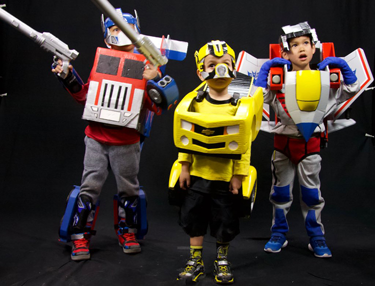 Three Adorable Little Kids Show Off Their Functional Homemade Transformers Costumes