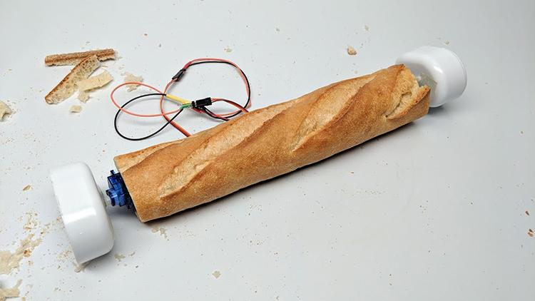 A Simple Wobbler Robot Inside of a Baguette