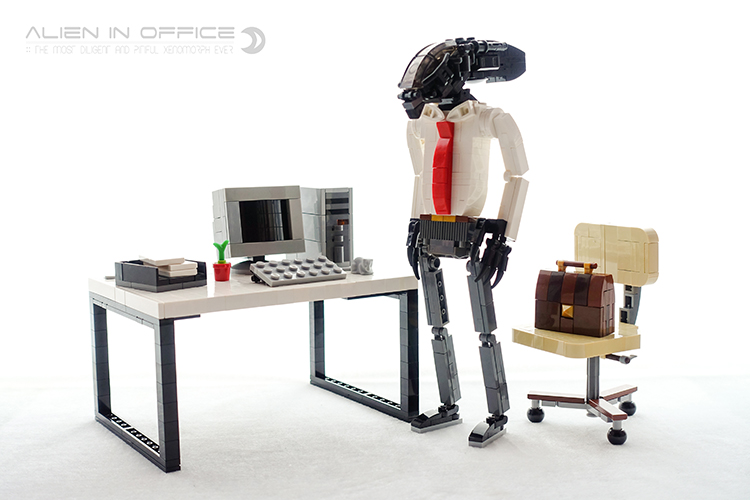 A Well-Dressed LEGO Alien Xenomorph Prepares for a Day at the Office