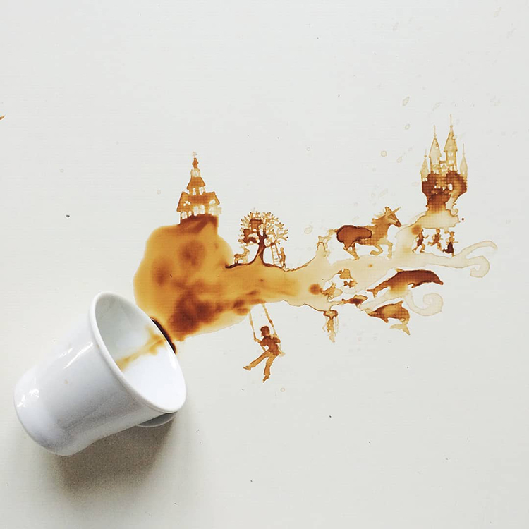 Artist Creates Beautiful Illustrations From Spilled Drinks, Food, and Soil