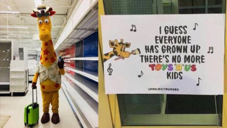 Geoffrey the Giraffe Says Goodbye to Toys R Us