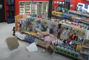 Woman Falling Through Ceiling