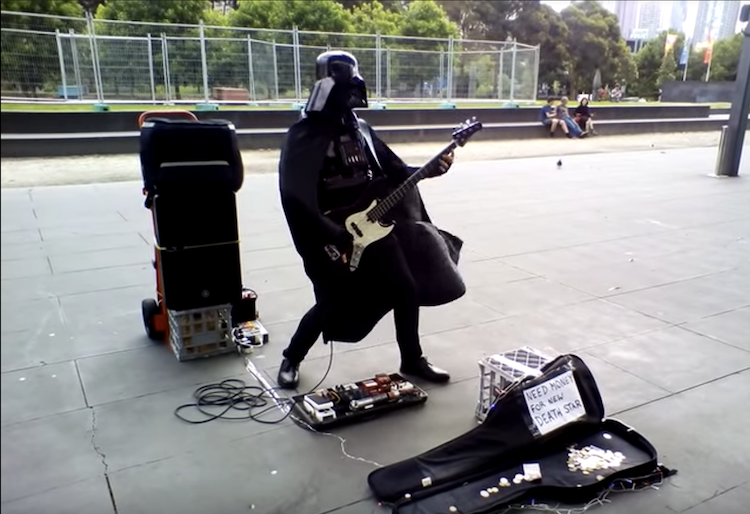 Darth Vader Shreds the Intro Bass Licks of the Rage Against the Machine Song 'Killing In the Name'