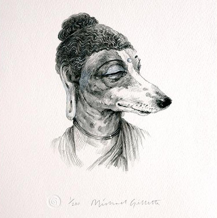 Amazing Graphite Prints of Anthropomorphic Dogs That Embody the Spirit of Inspirational Beings