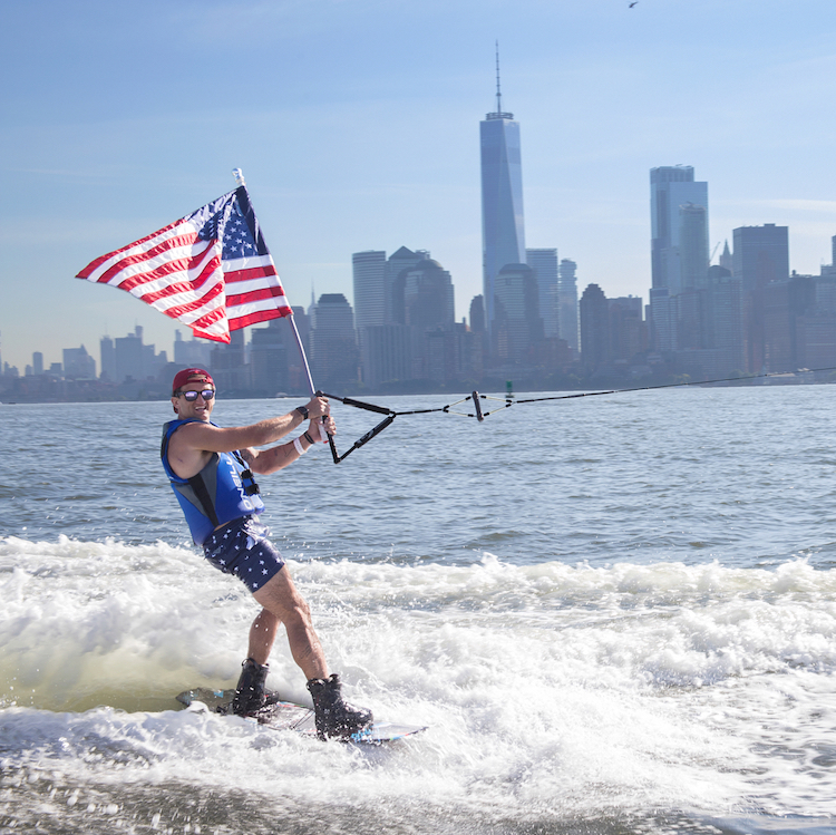 Casey Neistat Surfing East River 4th July Flag
