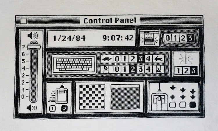 A Wonderful Pixel-Perfect Cross-Stitched Recreation of the Original Mac OS Control Panel