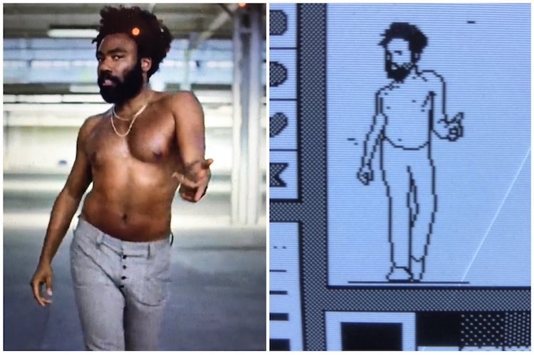 A Pixelated Recreation of Donald Glover Dancing in 'This Is America' Video Made With a 1990 Mac SE