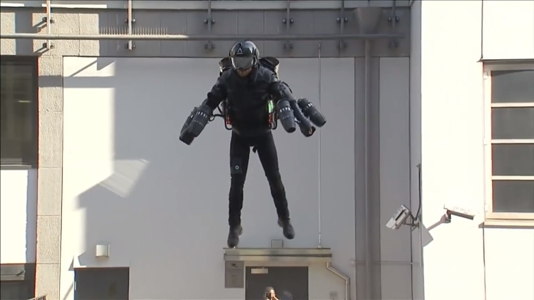 Inventor Demonstrates His $443K 'Iron Man' Jet Propulsion Suit in Front of London Department Store