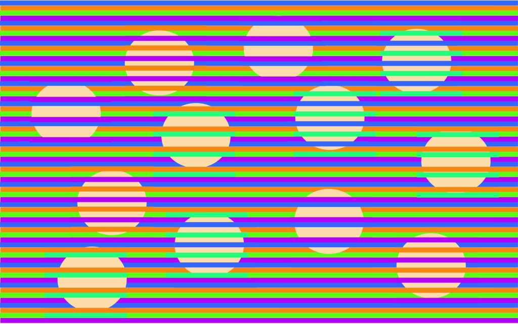 A Vivid Visual Illusion That Makes Dots of the Same Color Appear Different Against a Striped Background