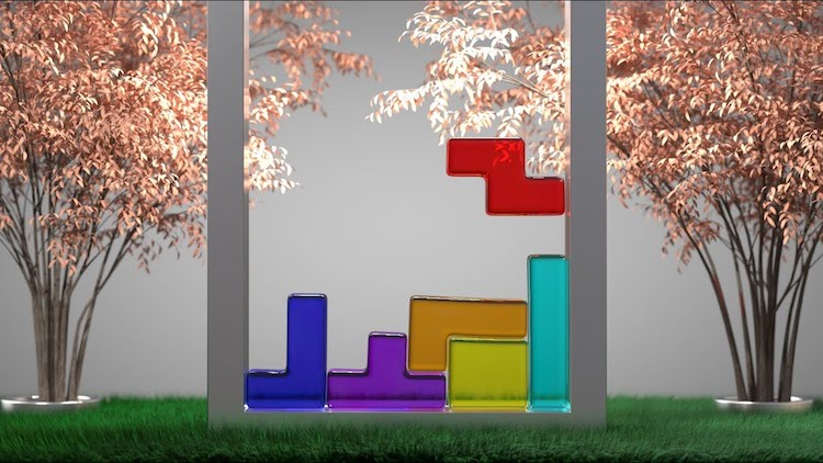 A Fun Animated Tetris Game That Uses Soft-Body Gelatin-Like Geometric Tetromino Game Pieces
