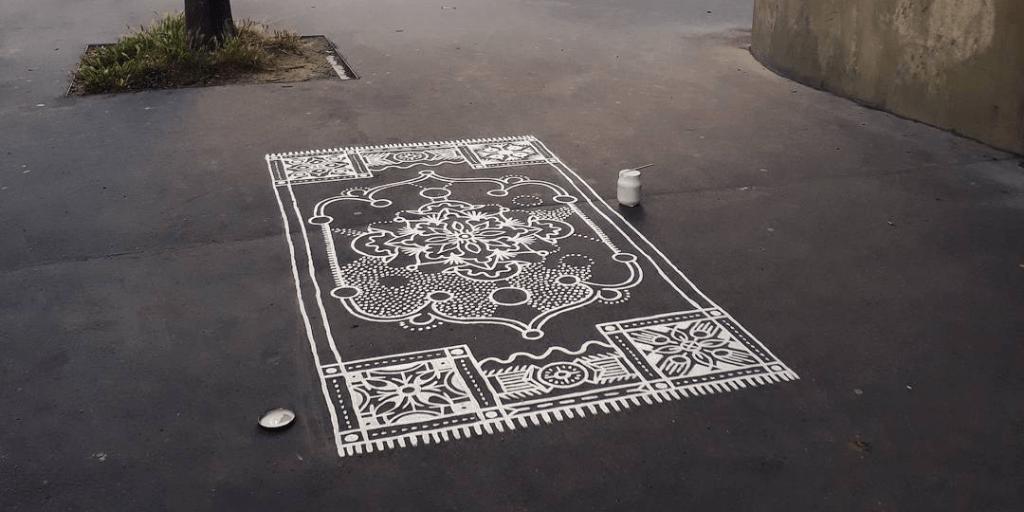 Beautifully Ornate Carpet Designs Painted Onto City Streets, Sidewalks, Plazas and Passageways