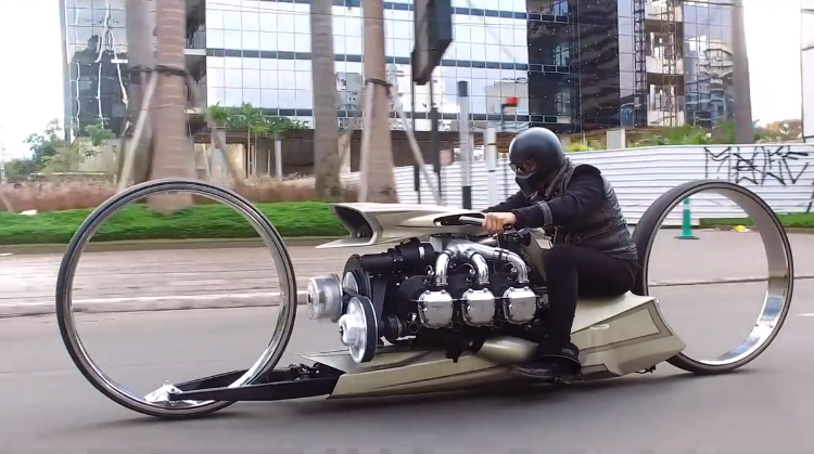 An Amazing Airplane Engine Powered Motorcycle Sporting Hubless Wheels and True Sci-Fi Style