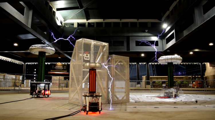 Three Giant Tesla Coils Play a Star Wars Medley
