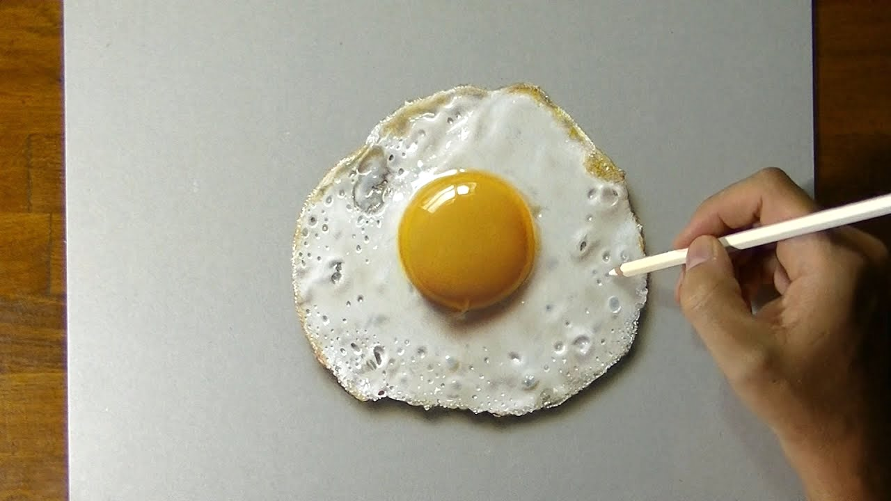 A Rapid Timelapse Tutorial Showing How to Create a 3D Drawing of a Hyper-Realistic Fried Egg