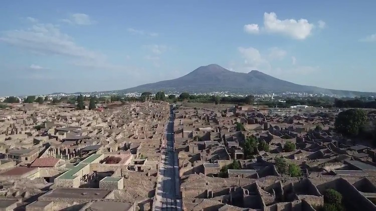 Stunning Drone Footage Taken Flying Over the Ancient Ruins of Pompeii