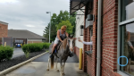 Riding Horse Through Starbucks Drive-Thru