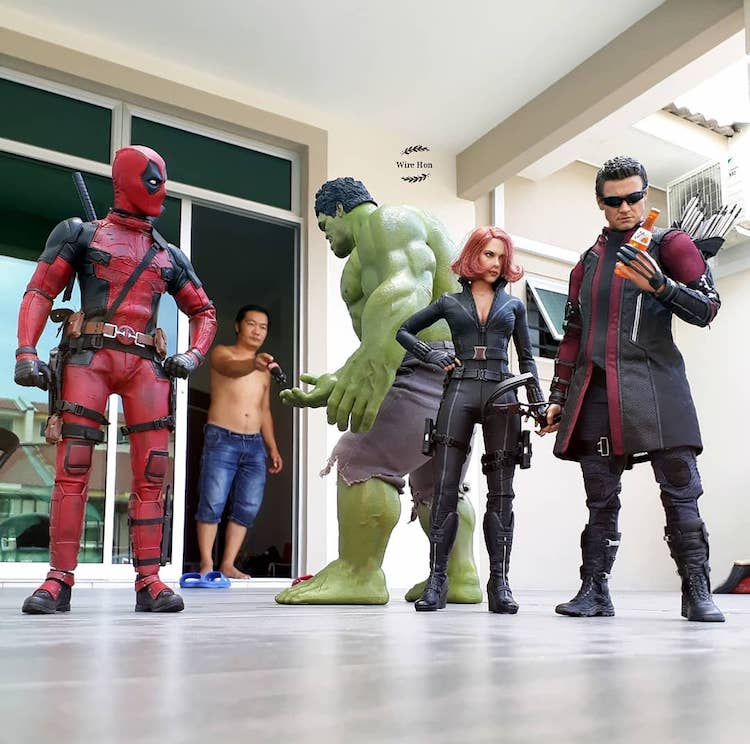 Using Forced Perspective on a Smartphone to Make Superhero Action Figures Appear Larger Than Life
