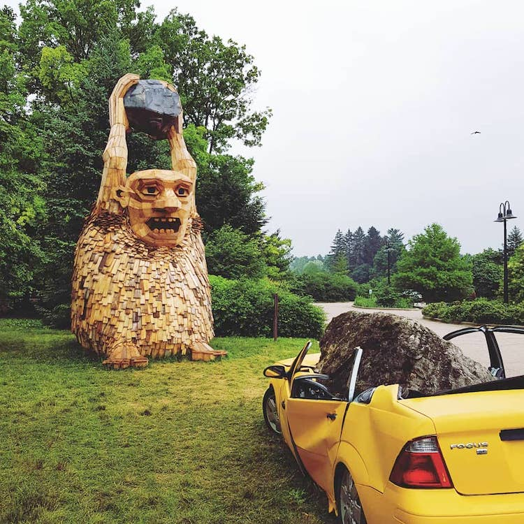 Six Towering Wooden Sculptures of Moody Trolls Hide Inside 1,700 Acres of a Chicago Arboretum