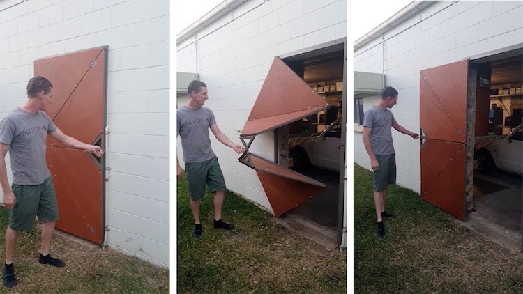 Imaginative Man Builds a Video Game Inspired Folding Shed Door That Opens Geometrically