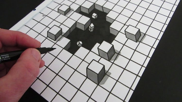 A Mesmerizing Timelapse Showing How to Draw a 3D Hole Optical Illusion on a Piece of Paper